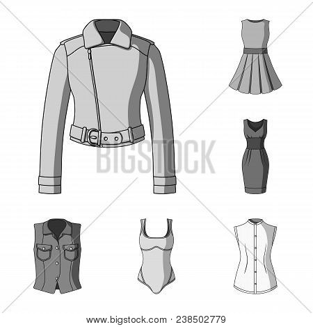 Women Clothing Monochrome Icons In Set Collection For Design.clothing Varieties And Accessories Vect