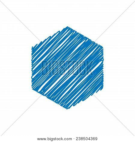 Blue Hexagon Sketchy Background, Vector Illustration Design