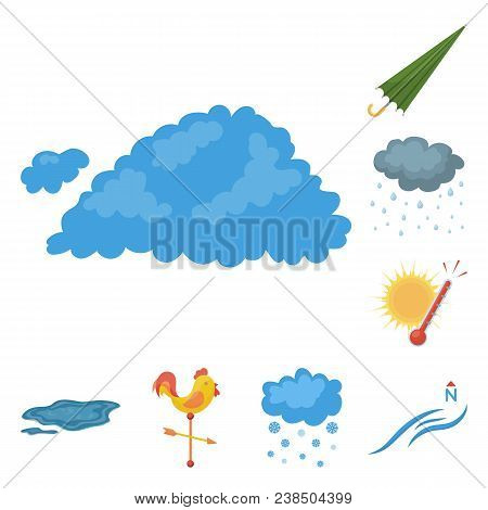Different Weather Cartoon Icons In Set Collection For Design.signs And Characteristics Of The Weathe