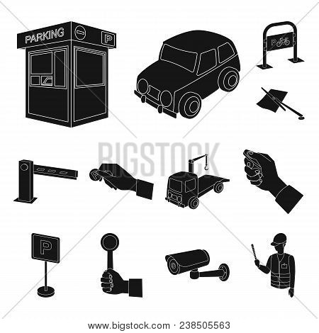 Parking For Cars Black Icons In Set Collection For Design. Equipment And Service Vector Symbol Stock