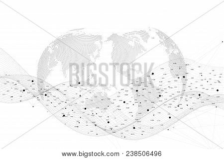 Vector Abstract Background With Dynamic Waves Dot And Lines, Dynamic Particles. Abstract Plexus Stru