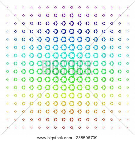 Cooperation Icon Spectrum Halftone Pattern. Vector Cooperation Items Organized Into Halftone Grid Wi