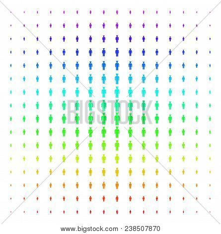 Daemon Icon Rainbow Colored Halftone Pattern. Vector Daemon Objects Arranged Into Halftone Grid With