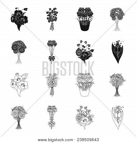 A Bouquet Of Fresh Flowers Black, Outline Icons In Set Collection For Design. Various Bouquets Vecto