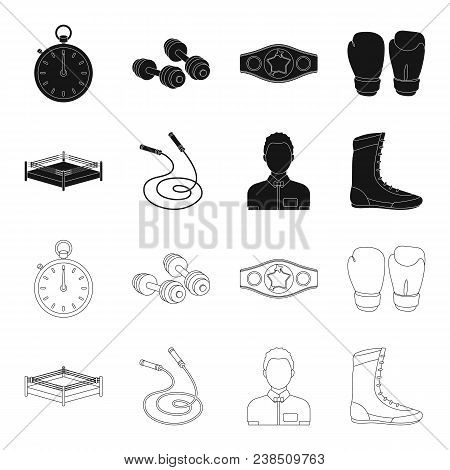 Ring, Rope, Referee, Sneakers Boxing Set Collection Icons In Black, Outline Style Vector Symbol Stoc