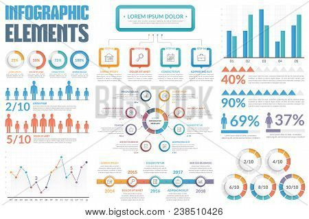 Infographic Elements - Bar And Line Charts, People Infographics, Circle Diagram, Process Diagram, St