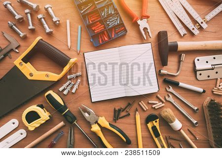 Top View Of Handyman Housework Repairing Tools On Work Desk With Copy Space