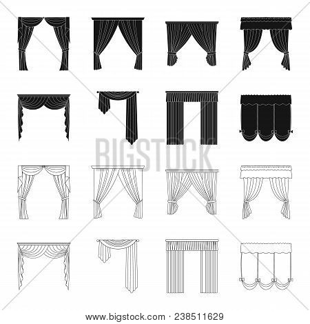 Different Types Of Window Curtains.curtains Set Collection Icons In Black, Outline Style Vector Symb