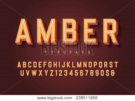 Amber Trendy Inline Vintage Display Font Design, Alphabet, Typeface, Letters And Numbers, Typography