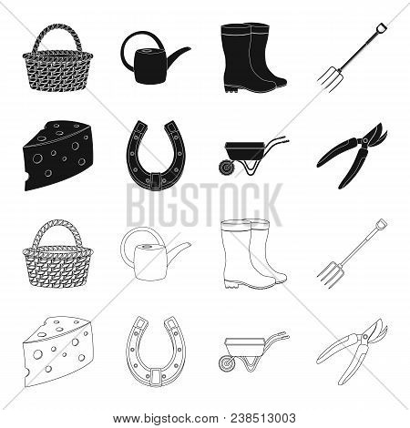 Cheese With Holes, A Trolley For Agricultural Work, A Horseshoe Made Of Metal, A Pruner For Cutting