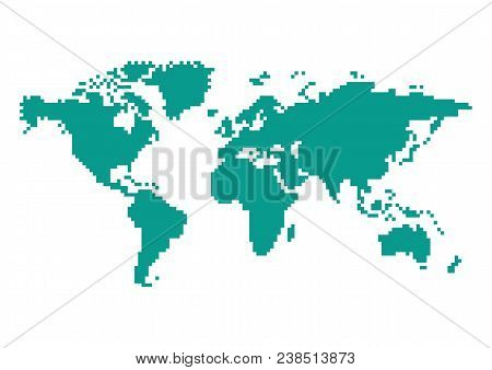 World Map In 8 Bit Old Game Style Isolated On White Background. Pixel Color Vector Illustration