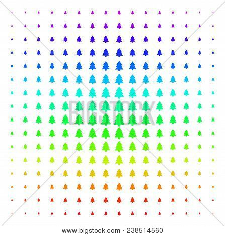 Fir-tree Icon Rainbow Colored Halftone Pattern. Vector Fir-tree Items Organized Into Halftone Grid W