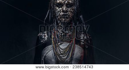 Portrait of a scary African shaman female with a petrified cracked skin and dreadlocks on a dark background. Make-up concept. poster