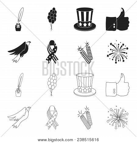 American Eagle, Ribbon, Salute. The Patriot Day Set Collection Icons In Black, Outline Style Vector