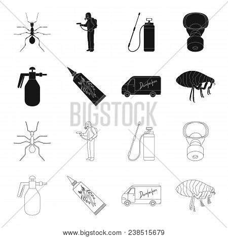 Flea, Special Car And Equipment Black, Outline Icons In Set Collection For Design. Pest Control Serv