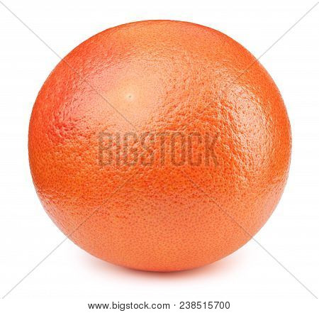 Perfectly Retouched Whole Orange Grapefruit Fruit Isolated On The White Background With Clipping Pat