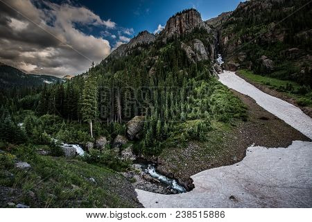 Engineer Pass Part Of Alpine Loop Colorado Uncompahgre River With Abrams Mountains In The Back