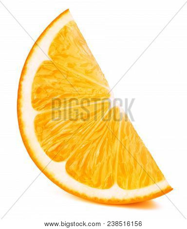 Perfectly retouched orange fruit slice isolated on the white background with clipping path. One of the best isolated oranges slices that you have seen. poster