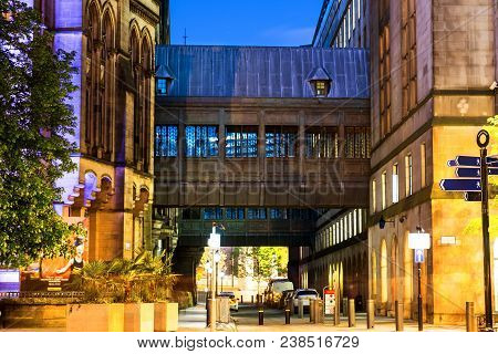 Manchester, England. Illuminated Old Historical Buildings In The City Center Of Manchester, Uk At Ni