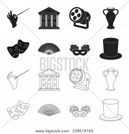 Theatrical Mask, Cylinder, Fan, Mask On The Eyes. Theater Set Collection Icons In Black, Outline Sty
