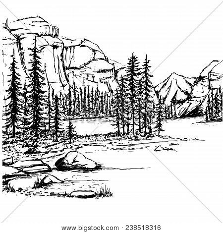 A Sketch Of A Lake And A Forest Against The Backdrop Of The Mountains.