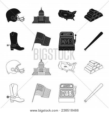 Cowboy Boots, National Flag, Slot Machine, Baseball Bat. Usa Country Set Collection Icons In Black,