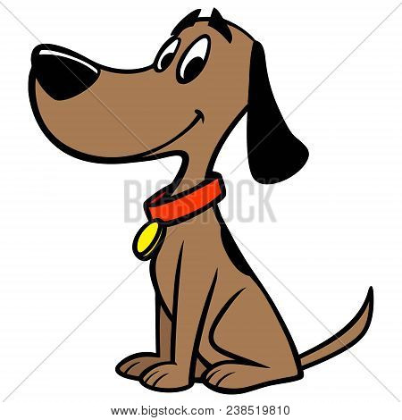 Dog With Collar - A Vector Cartoon Illustration Of A Dog With A Red Collar.