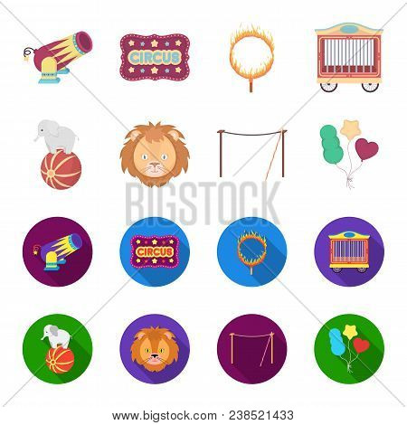 Elephant On The Ball, Circus Lion, Crossbeam, Balls.circus Set Collection Icons In Cartoon, Flat Sty