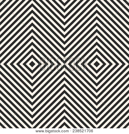 Black And White Stripes Vector Seamless Pattern With Crossing Diagonal Striped Lines, Rotated Square