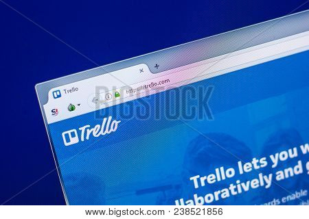 Ryazan, Russia - April 29, 2018: Homepage Of Trello Website On The Display Of Pc, Url - Trello.com