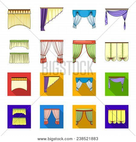 Different Types Of Window Curtains.curtains Set Collection Icons In Cartoon, Flat Style Vector Symbo