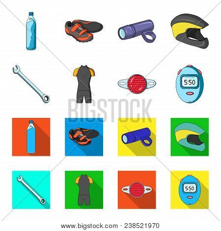 A Wrench, A Bicyclist Bone, A Reflector, A Timer.cyclist Outfit Set Collection Icons In Cartoon, Fla