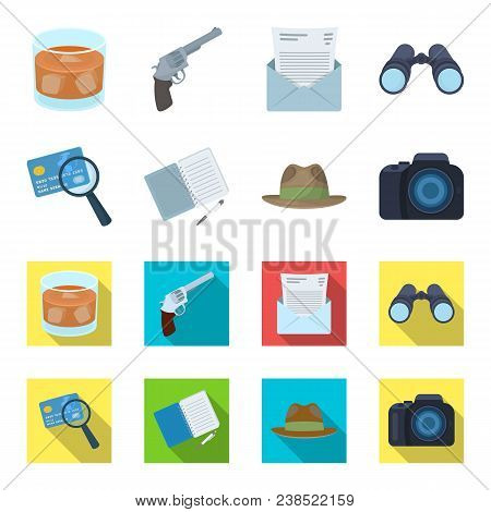 Camera, Magnifier, Hat, Notebook With Pen.detective Set Collection Icons In Cartoon, Flat Style Vect
