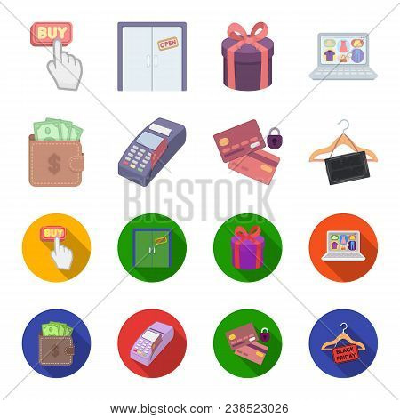 Purse, Money, Touch, Hanger And Other Equipment. E Commerce Set Collection Icons In Cartoon, Flat St