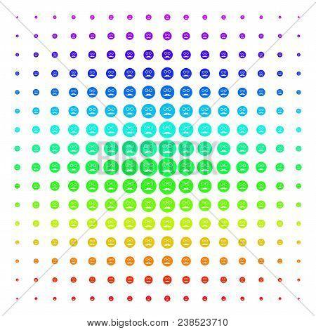 Pension Smiley Icon Spectral Halftone Pattern. Vector Pension Smiley Pictograms Arranged Into Halfto