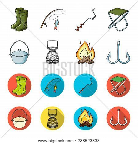 Catch, Hook, Mesh, Caster .fishing Set Collection Icons In Cartoon, Flat Style Vector Symbol Stock I