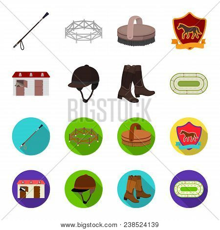 Boots, Grass, Stadium, Track, Rest .hippodrome And Horse Set Collection Icons In Cartoon, Flat Style