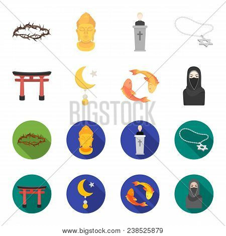 Torii, Carp Koi, Woman In Hijab, Star And Crescent. Religion Set Collection Icons In Cartoon, Flat S