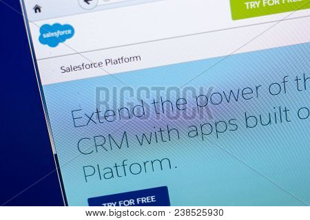 Ryazan, Russia - April 29, 2018: Homepage Of Salesforce Website On The Display Of Pc, Url - Salesfor