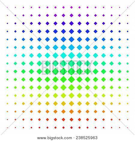 Rhombus Icon Spectrum Halftone Pattern. Vector Rhombus Symbols Arranged Into Halftone Grid With Vert