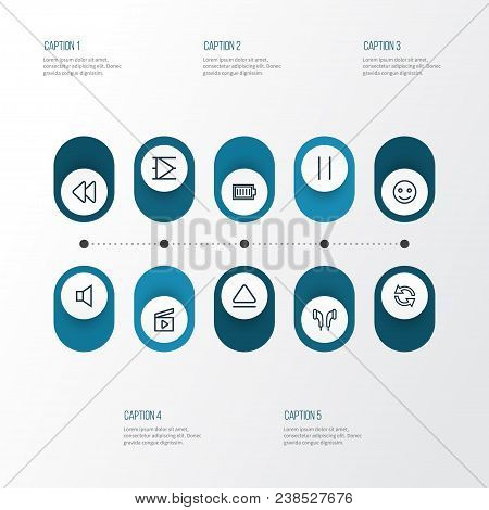 Multimedia Icons Line Style Set With Sync, Earmuff, Rewind And Other Synchronize Elements. Isolated