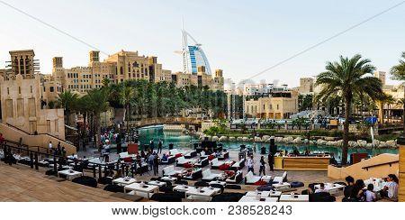 Dubai, United Arab Emirates - April 20, 2018: Panoramic View Of Madinat Jumeirah Resort And Restaura