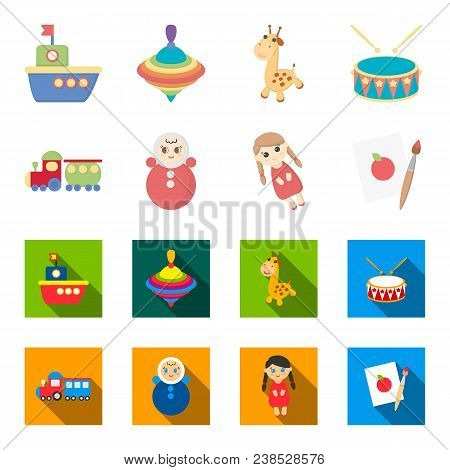 Train.kukla, Picture.toys Set Collection Icons In Cartoon, Flat Style Vector Symbol Stock Illustrati