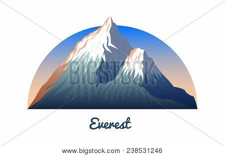 Mount Everest. Peaks And Landscape Early In A Daylight. Travel Or Camping, Climbing. Outdoor Hill To
