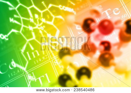 Molecule Ball And Stick Model On Periodic Table Of The Elements With Chemical Formula  - Chemistry O
