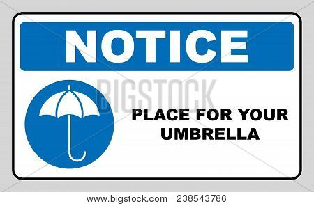 Place For Your Wet Umbrella. Umbrella With Water Drops. Rain Protection Symbol. Flat Design Style, W