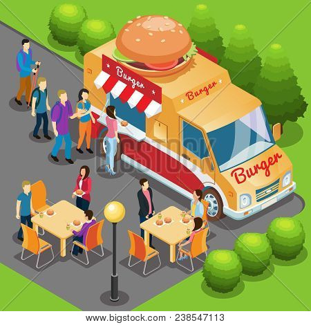 Isometric Fast Food Truck Concept With People Buying And Eating Burgers In City Park Vector Illustra