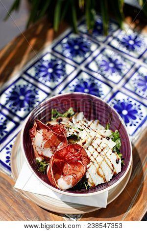 Sunlit Serving Of Mexican Ham Salad, Vertical