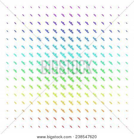 Satellite Icon Rainbow Colored Halftone Pattern. Vector Satellite Symbols Arranged Into Halftone Gri
