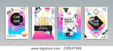 Set Of Four Isolated Abstract Posters For Vector Design Decorated By  Geometric Figures And Chrome D
